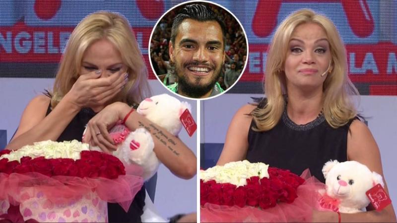 Sergio Romero sorprendió a Eliana Guercio en vivo con un romántico regalo por el Día de los Enamorados