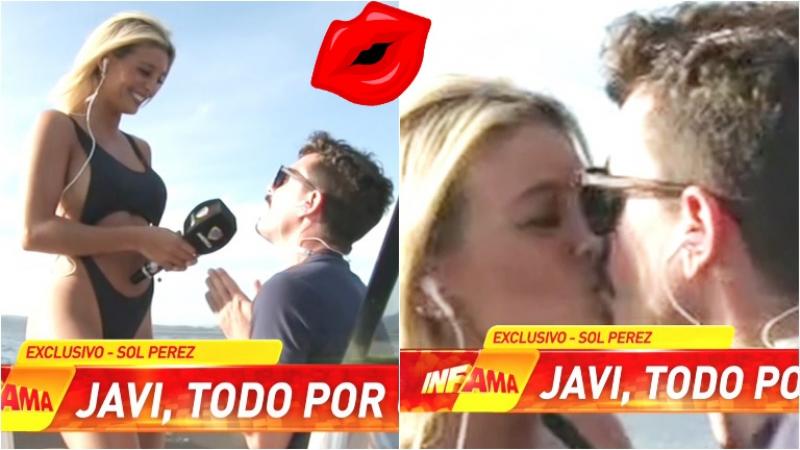 El beso en vivo de Sol Pérez y el cronista de Infama (Fotos: Capturas)