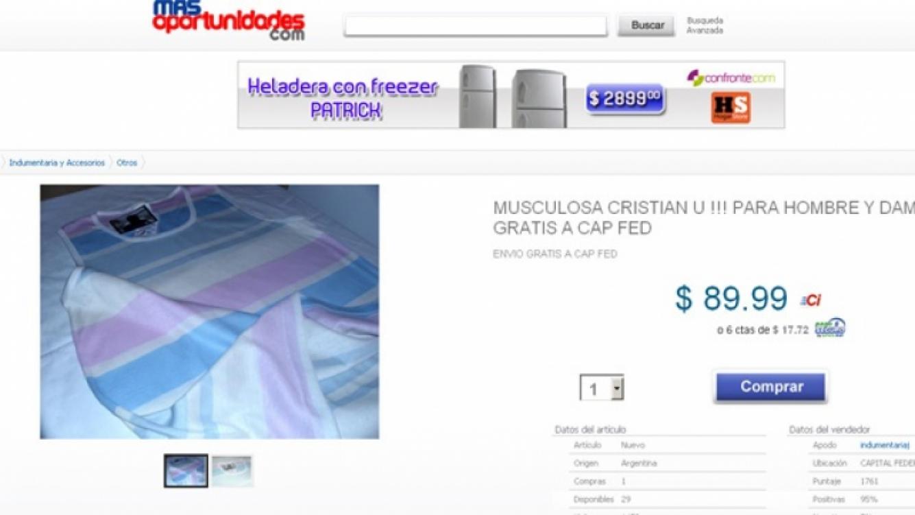 La remera de Cristian U. se vende por internet. (Foto: captura web)