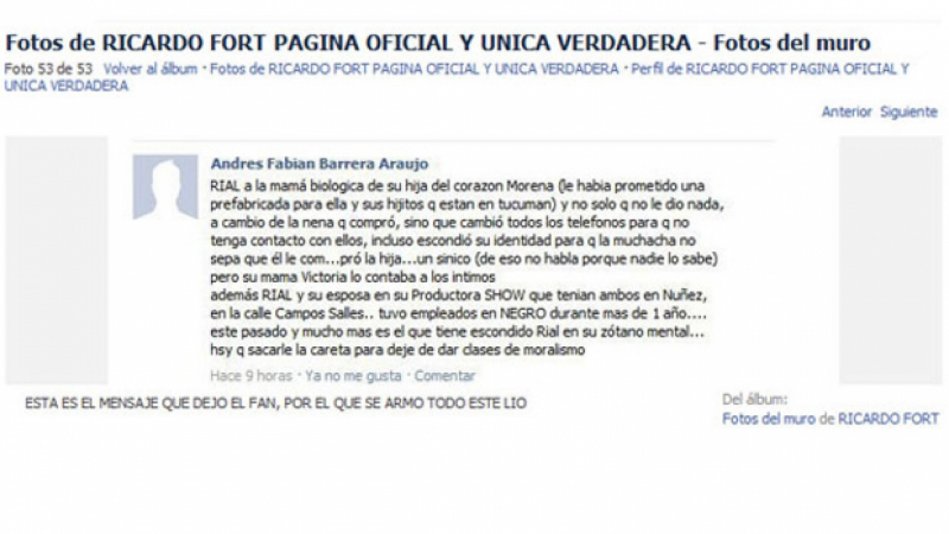 Rial publicó en su Twitter el mensaje escrito en el Facebook de Fort que lo sacó.