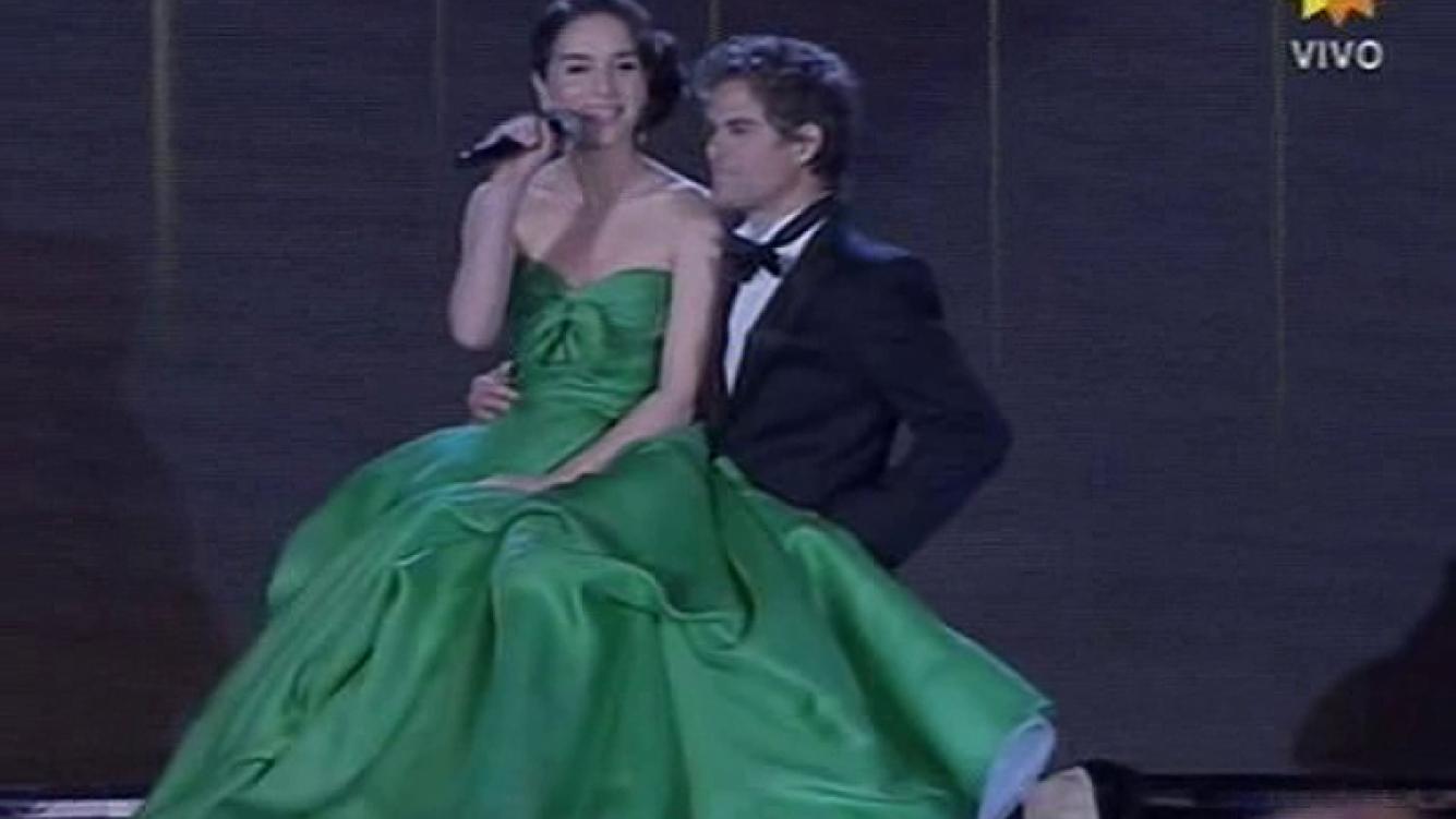 Natalia Oreiro y Mike Amigorena, en el comienzo de la gran noche. (Foto: captura TV)