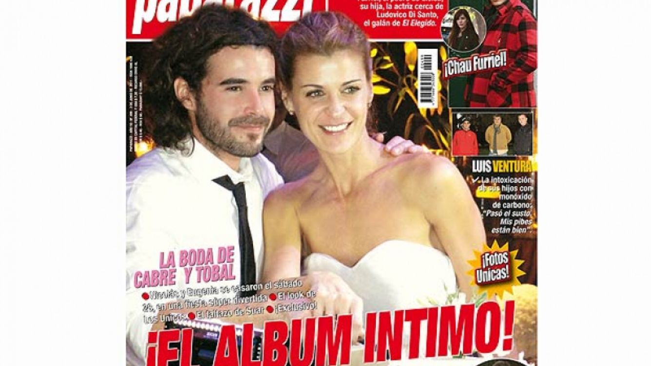 La foto de la boda de Nico Cabré y Eugenia Tobal. (Foto: revista Paparazzi)
