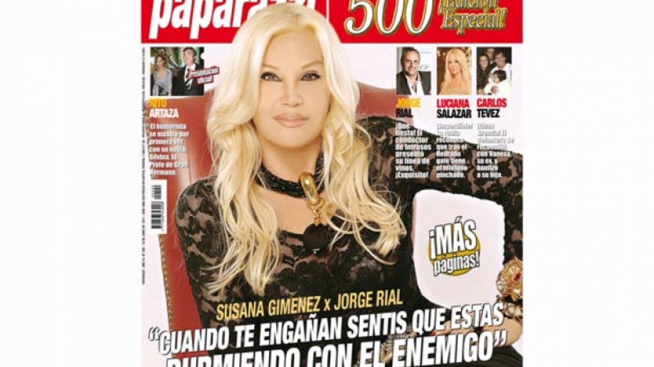 Susana Giménez, tapa de la edición Nº 500 de la revista Paparazzi.