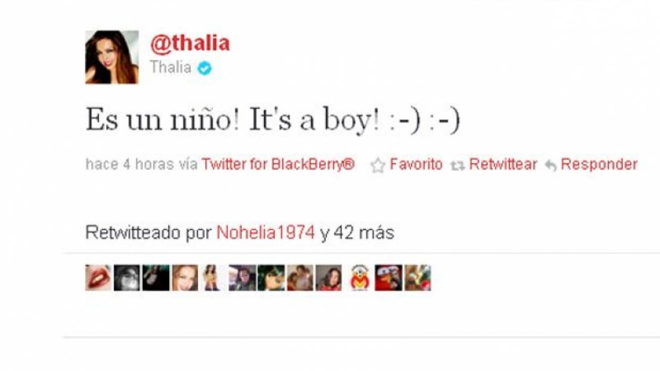Thalía se convirtió en mamá por segunda vez y lo contó por Twitter (Foto: Web)