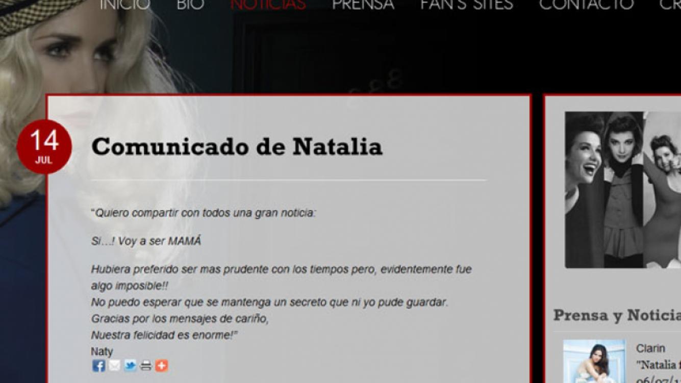 El comunicado de Natalia Oreiro, con la confirmación del embarazo. (Imagen: www.nataliaoreiro.com)