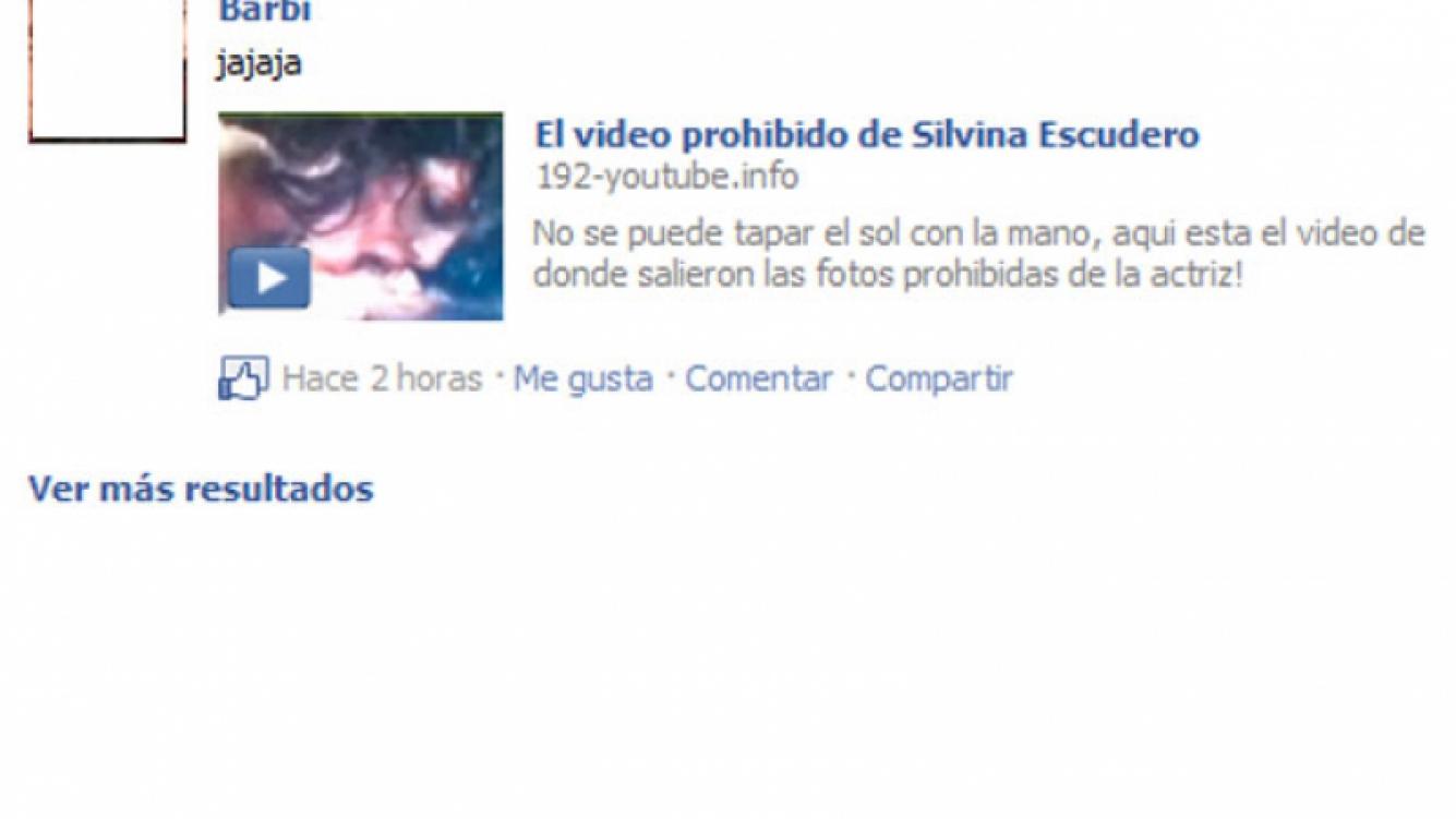 """""""El video prohibido de Silvina Escudero"""", sólo un spam en Facebook."""