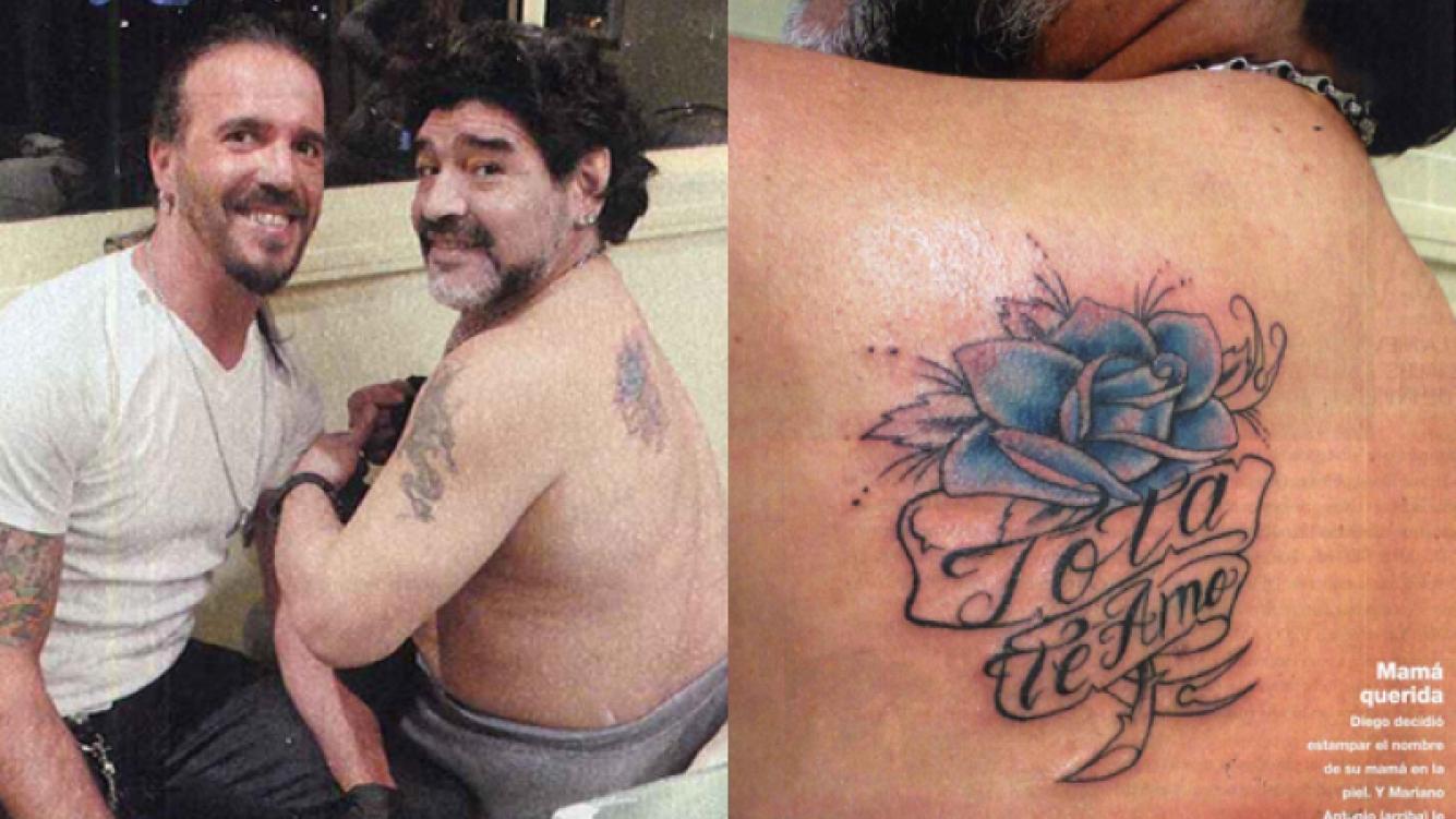 El nuevo tatuaje de Diego Maradona. (Foto: revista Gente)