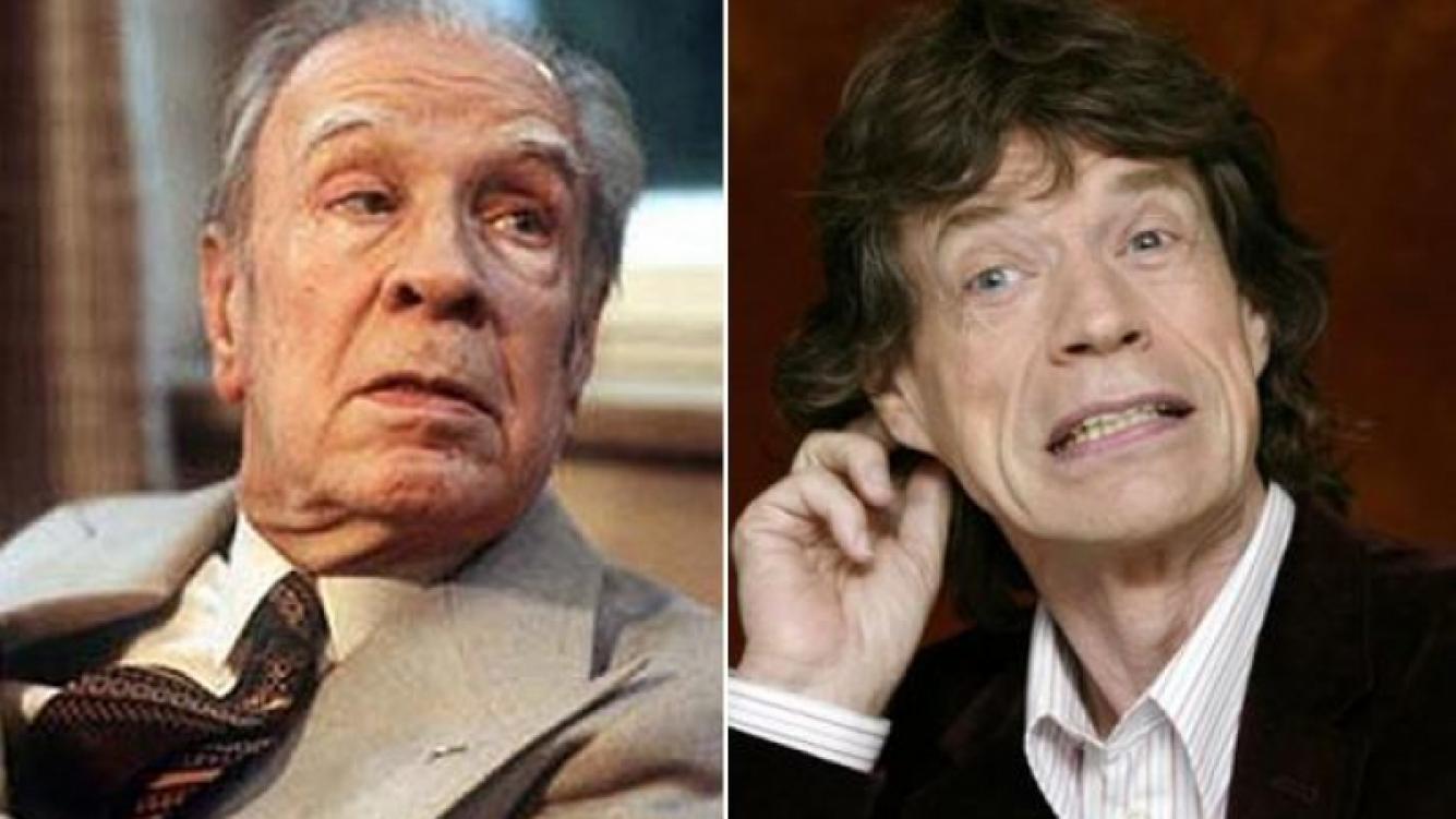 Jorge Luis Borges y Mick Jagger. (Foto: Web)