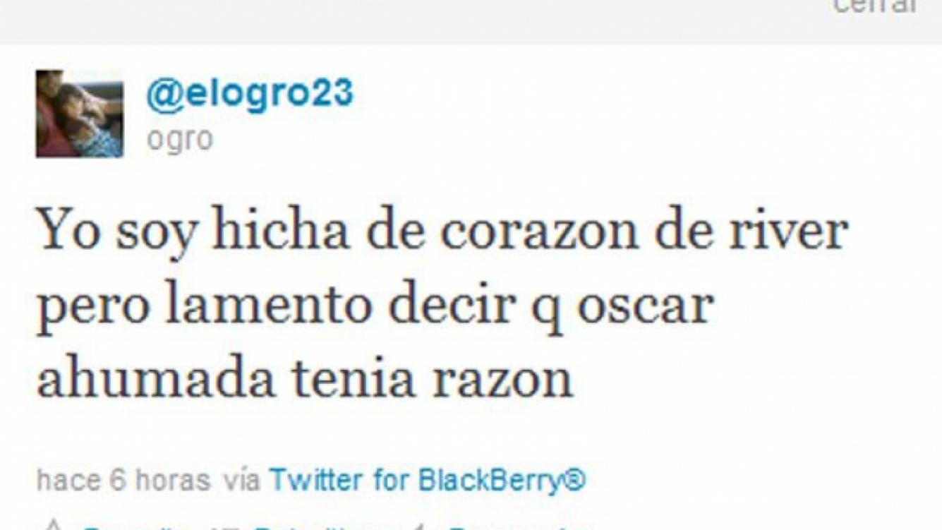 El polémico tweet (con error de tipeo y todo) que Fabbiani ahora dice que no escribió.