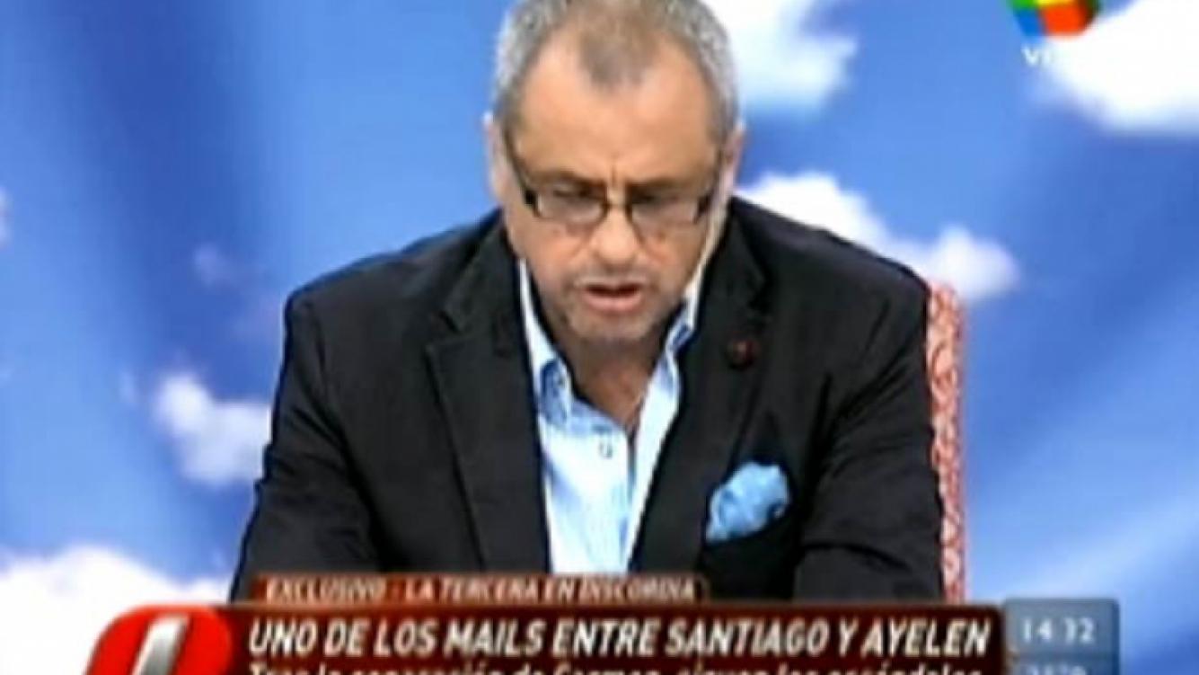 Jorge Rial leyó un supuesto mail que Santiago Bal le habría mandado a Ayelén Paleo. (Captura: América)