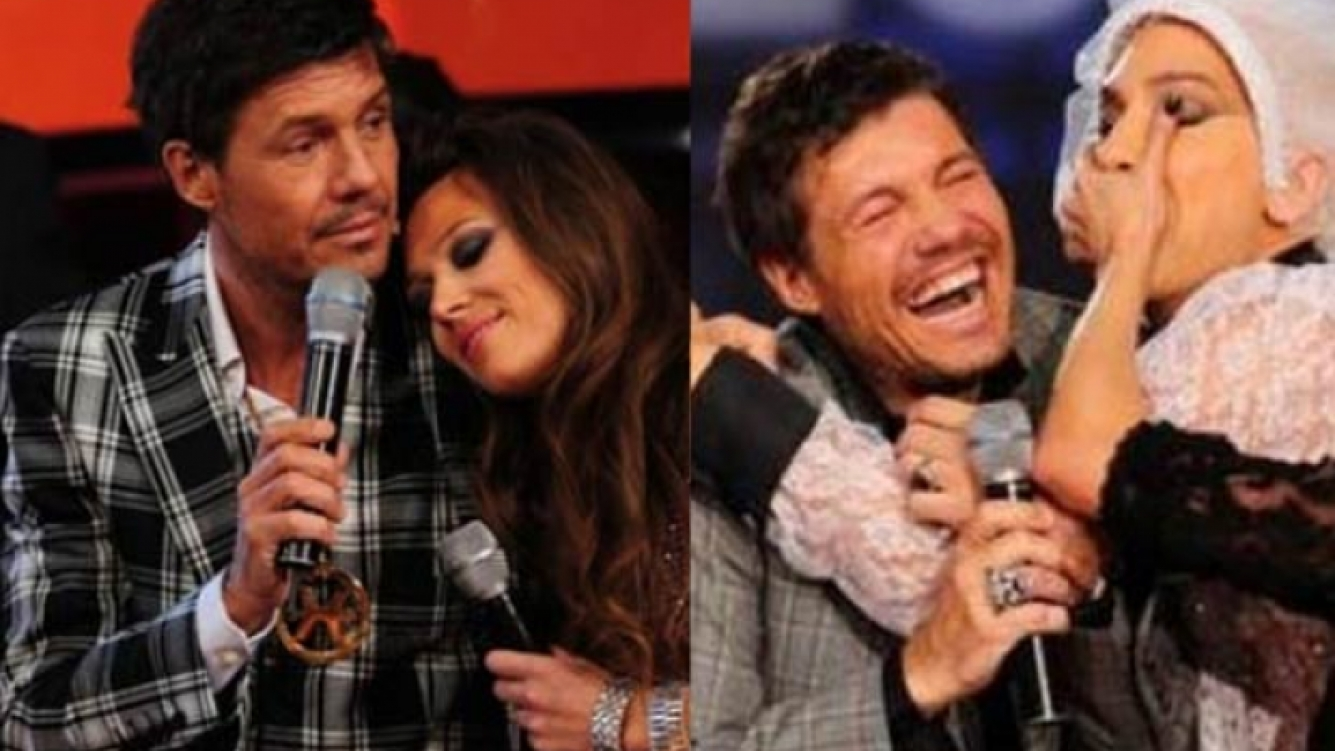 Izquierda: Marcelo, con Coki Ramírez. Derecha: Tinelli, acosado por Flavio Mendoza. (Fotos: Ideas del Sur)
