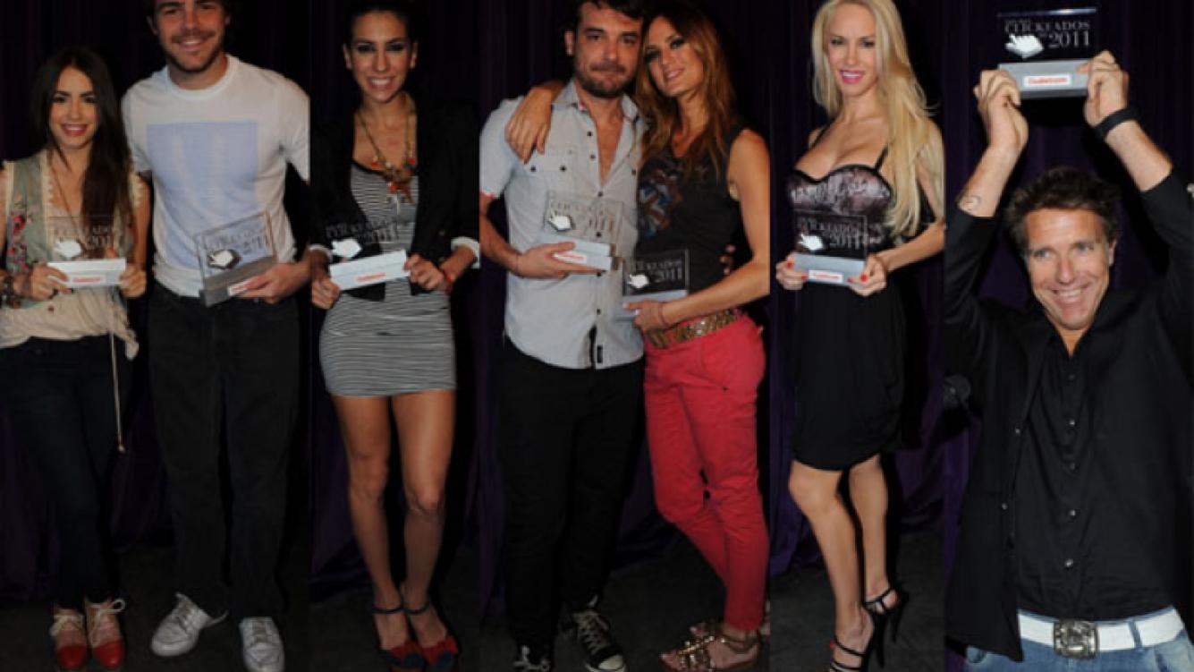Lali Espósito y Peter Lanzani; Cinthia Fernánez, Peter Alfonso y Paula Chaves, Luciana Salazar y Alejandro Fantino; premiados.