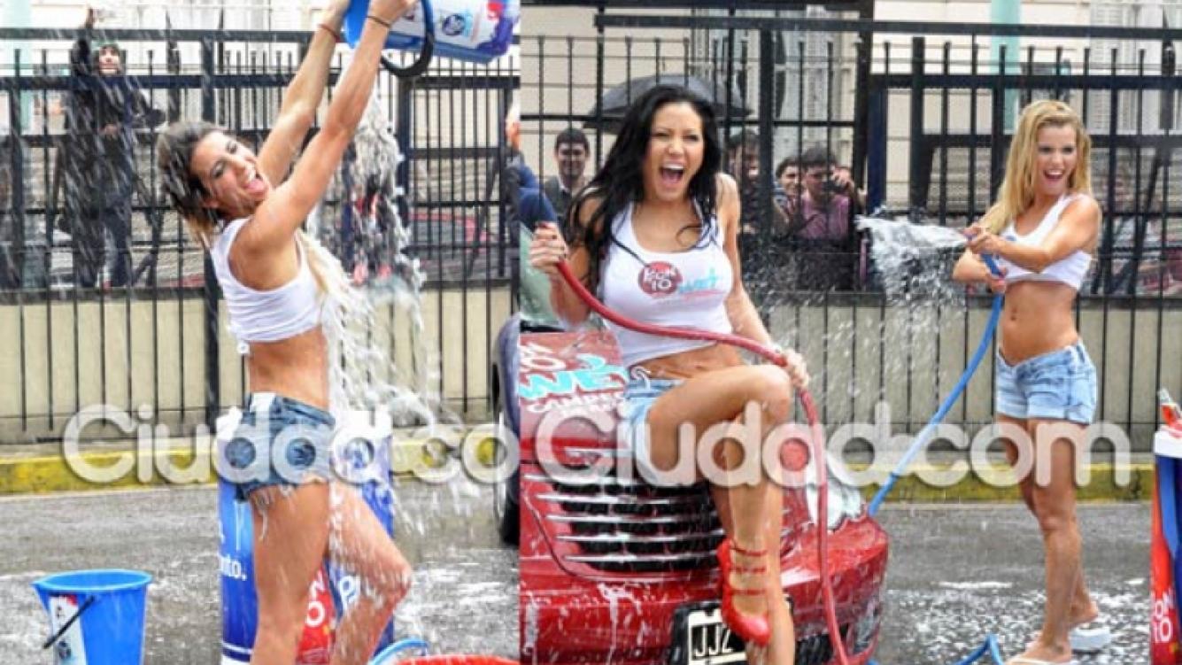 Cinthia Fernández, Adabel Guerrero y Lola Bezerra: show de remeras mojadas. (Foto: Jennifer Rubio)
