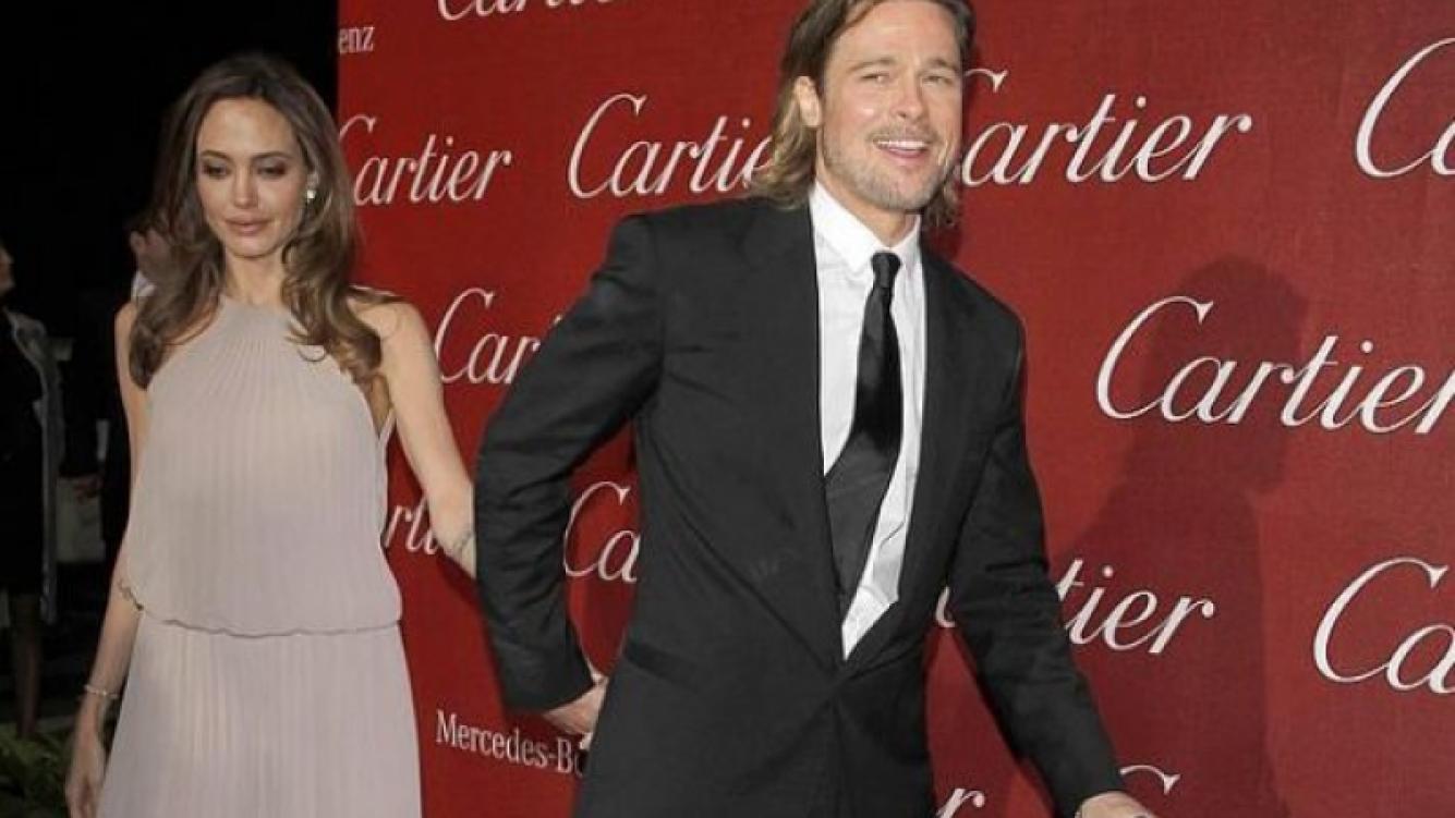 Angelina Jolie y Brad Pitt con su bastón en el Festival Internacional de Cine de Palm Spring. (Foto: Web)