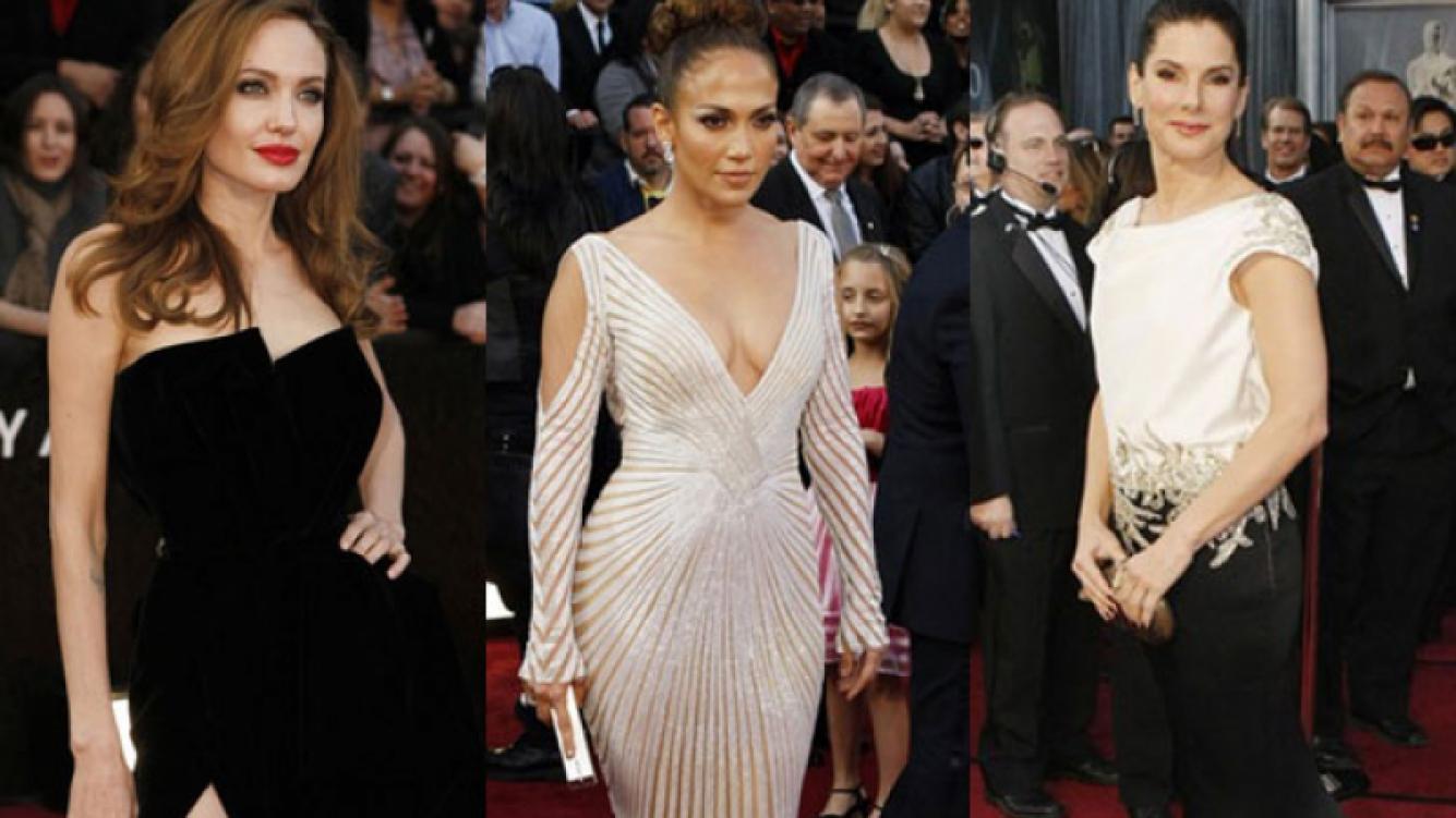 Angelina Jolie, Jennifer López y Sandra Bullock en los Oscar 2012 (Fotos: http://oscar.go.com)