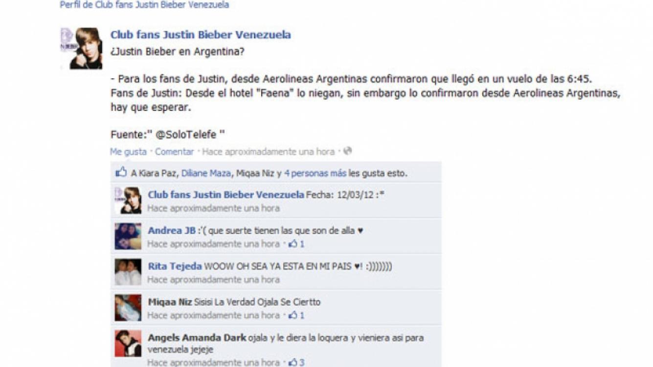 ¿Justin Bieber está en la Argentina? Según su Club de fans, sí. (Foto: Facebook del Club de Fans de Justin en Argentina)