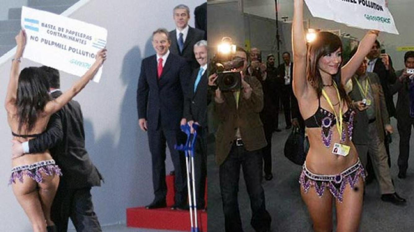 Evangelina Carrozo deleitó a Tony Blair, el ex Primer Ministro britanico, cuando protestó contra las pasteras. (Fotos: Web)