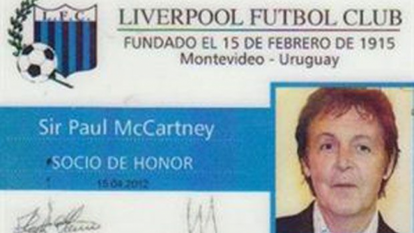 Paul McCartney ahora es socio de honor del Liverpool... de Uruguay. (Foto: liverpoolfc.com.uy)