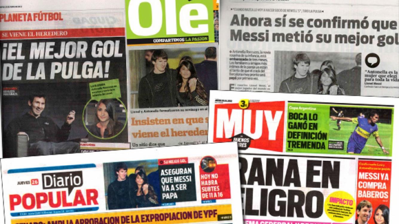 La primicia de la paternidad de Lionel Messi que confirmó Ciudad.com fue tema de los diarios argentinos.