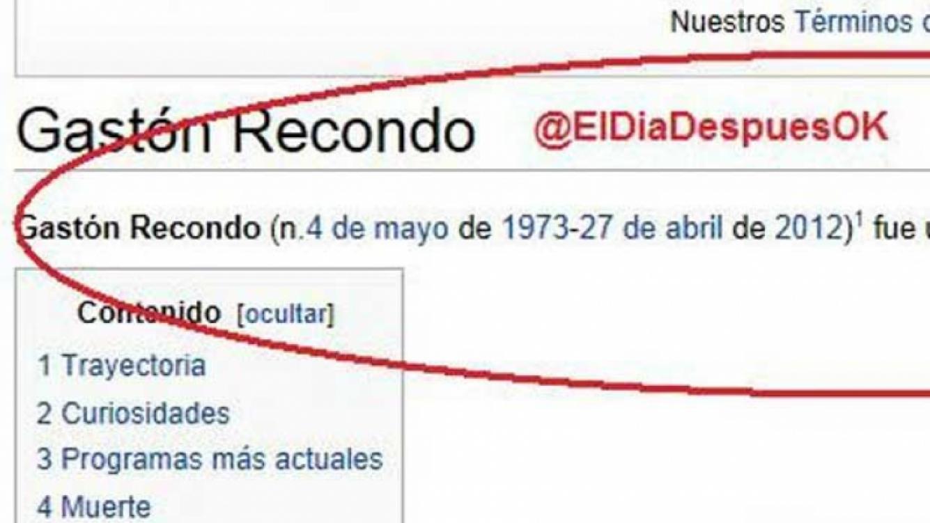 En Wikipedia por minitos se fechó la muerte de Gastón Recondo. (Foto: @eldiadespuesok)