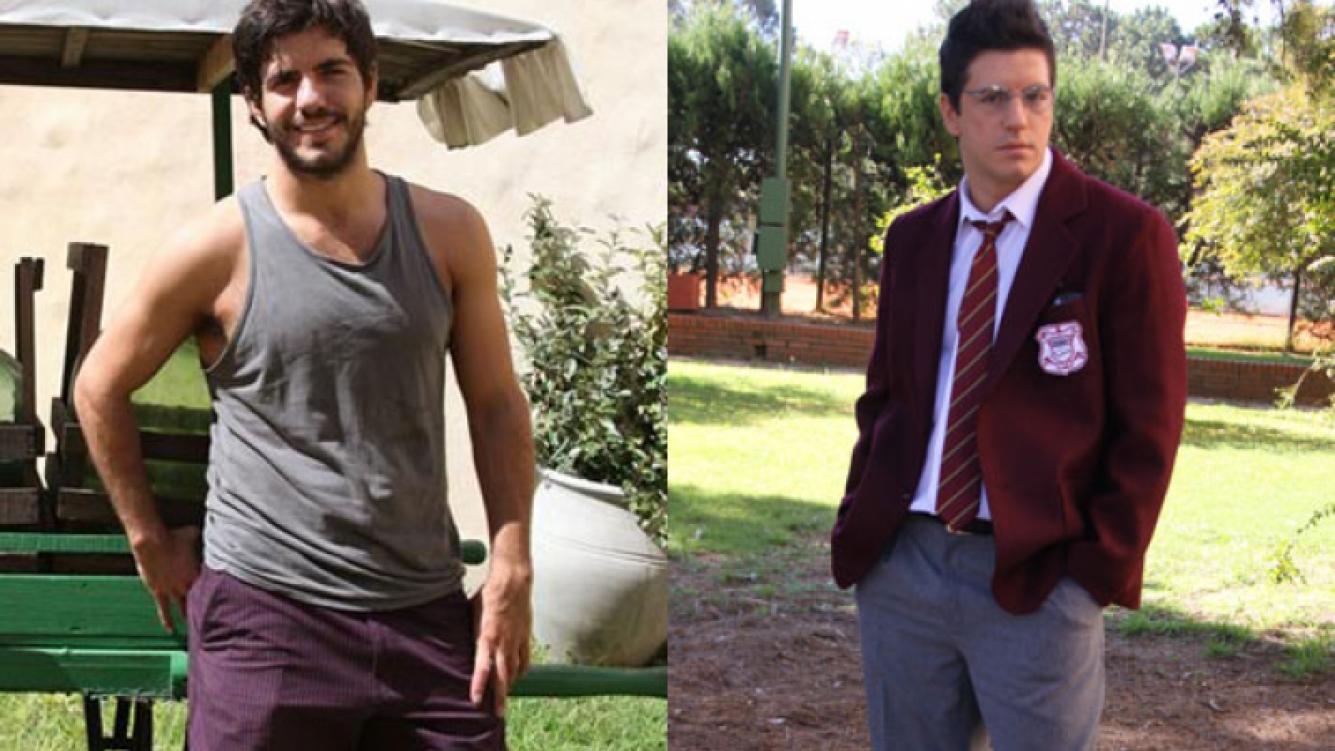 Antes y después: Marco Antoni Caponi, irreconocible en Graduados (Fotos: Web y Telefe).