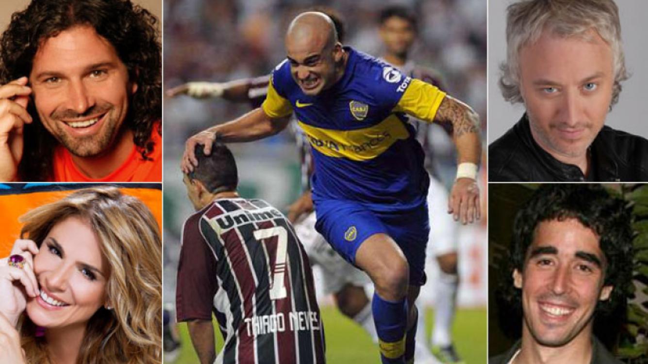 Iván Noble, Flavia Palmiero, Andy Kusnetzoff y Nacho Viale: cuatro boquenses que festejaron en Twitter. (Fotos: Olé y Web)