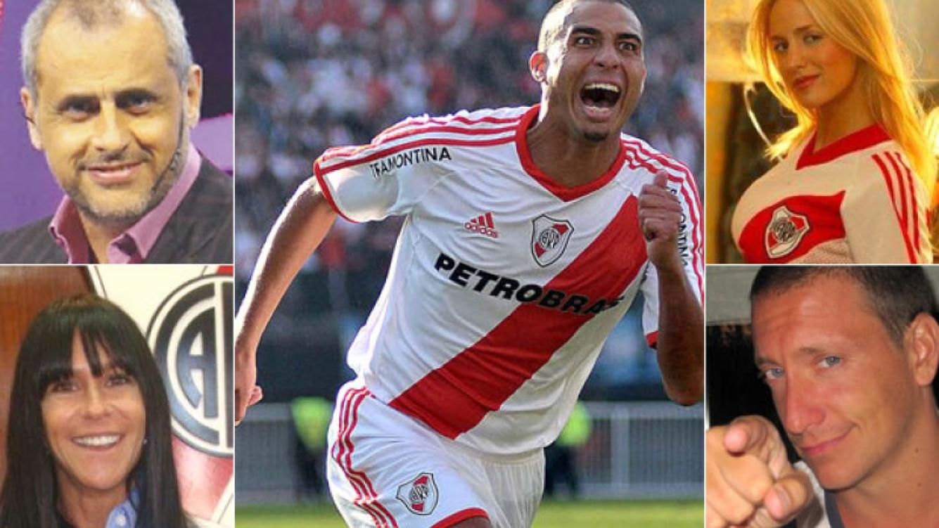 Jorge Rial, Caro Baldini, Luli Salazar y Nico Vázquez, cuatro fanas de River que festejaron en Twitter. (Fotos: Ole.com y Web)