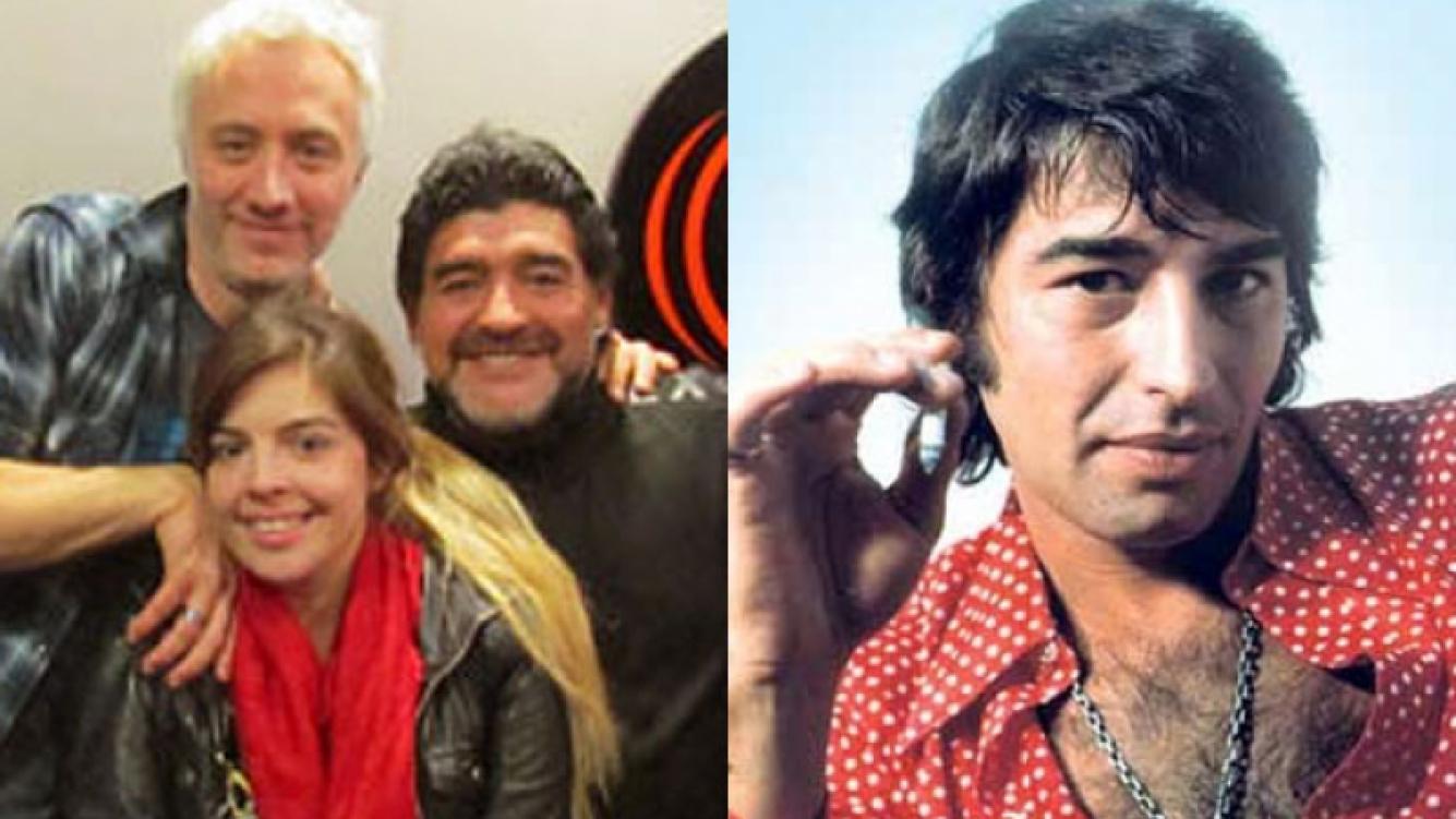 Maradona visitó a Andy Kusnetzoff e imitó a Sandro (Fotos: Perros de la Calle y Web).