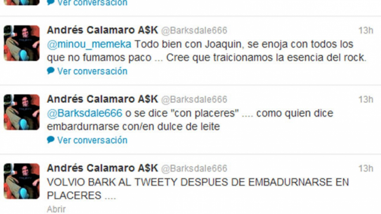 El polémico tweet de Calamaro sobre Joaquín Levinton (Foto: Twitter).
