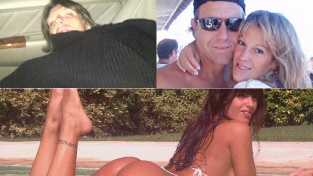 Arriba a la izq: Fantino durmiendo en su auto. Der: con su mujer, Miriam Lanzoni. Abajo: Sofía Clerici, la mujer de la discordia