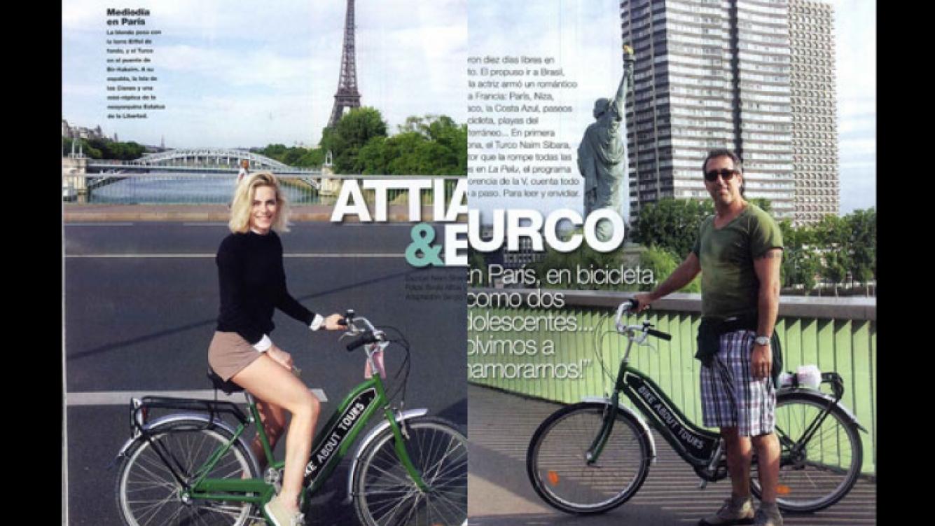 Emilia Attias y el Turco Naím, amor en bicicleta en París. (Fotos: revista Gente)