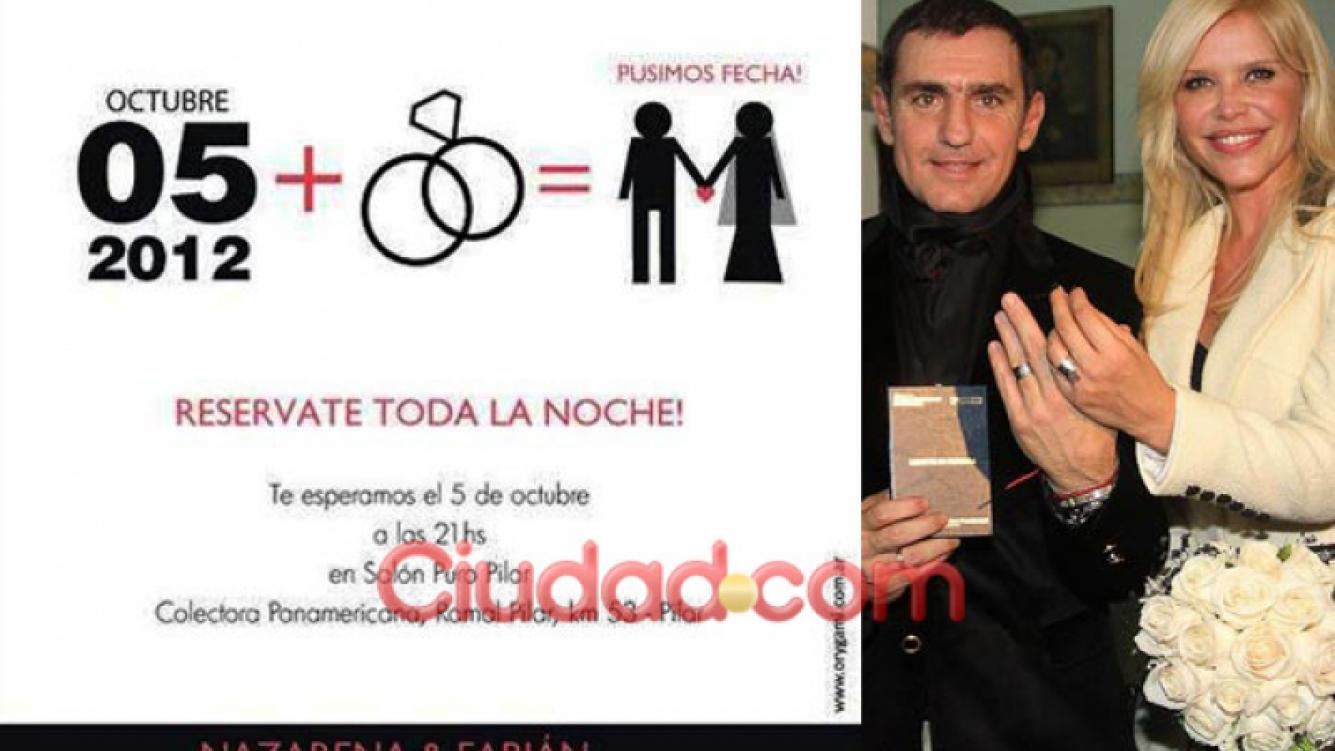La invitación de la boda entre Nazarena Vélez y Fabián Rodríguez. (Foto: Ciudad.com)