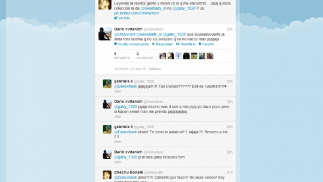 La escena de celos de Darío Cvitanich a Chechu Bonelli en Twitter. (Foto: Web)