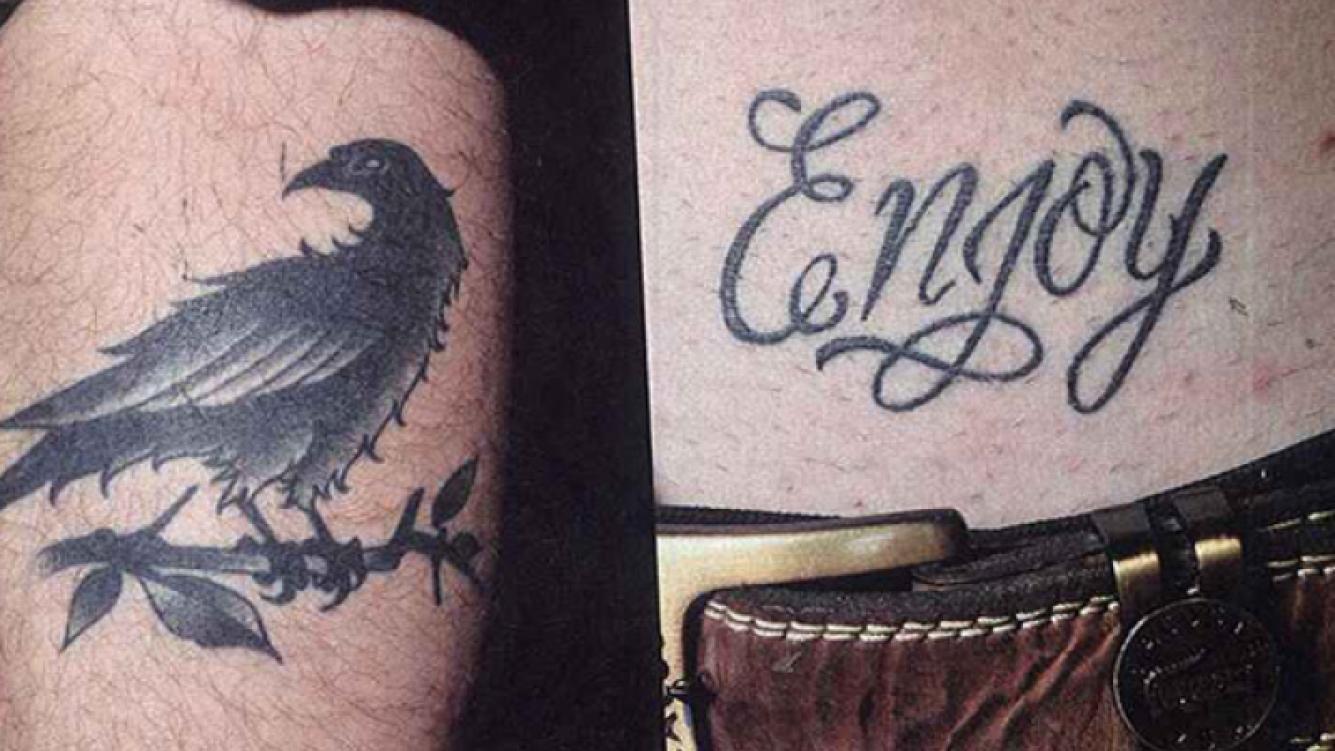 Los tatuajes de Soffritti: un cuervo en la pierna (por San Lorenzo) y
