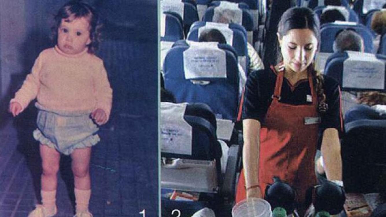 Magui Bravi, durante su infancia y cuando fue azafata. (Fotos: Revista Gente)