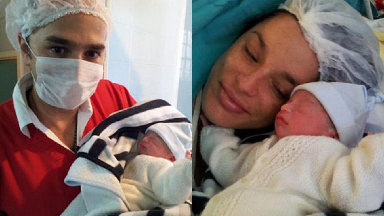 Pablo Layús, feliz con su bebé Francisco y su mujer Elsa (Fotos. Twitter).
