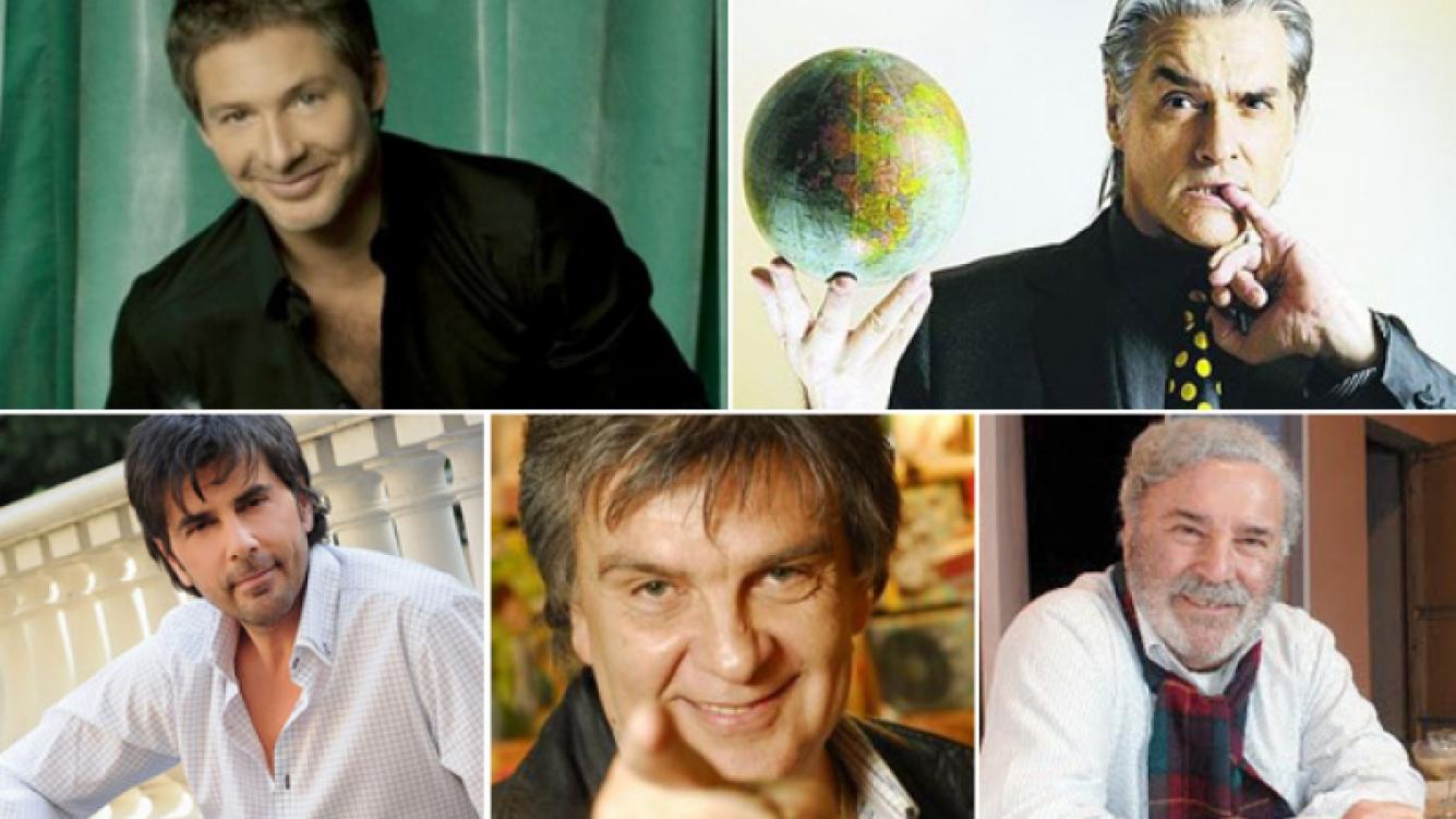 Adrián Suar, Roberto Pettinato, Juan Darthés, Luis Ventura y Rodolfo Ranni. (Fotos: archivo Web)
