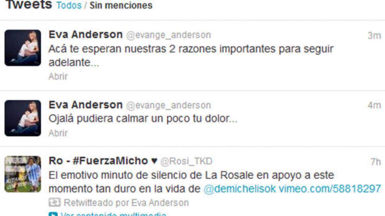 Evangelina Anderson le dedicó dos sentidos tweets a Martín Demichelis. (Captura: @evange_anderson)