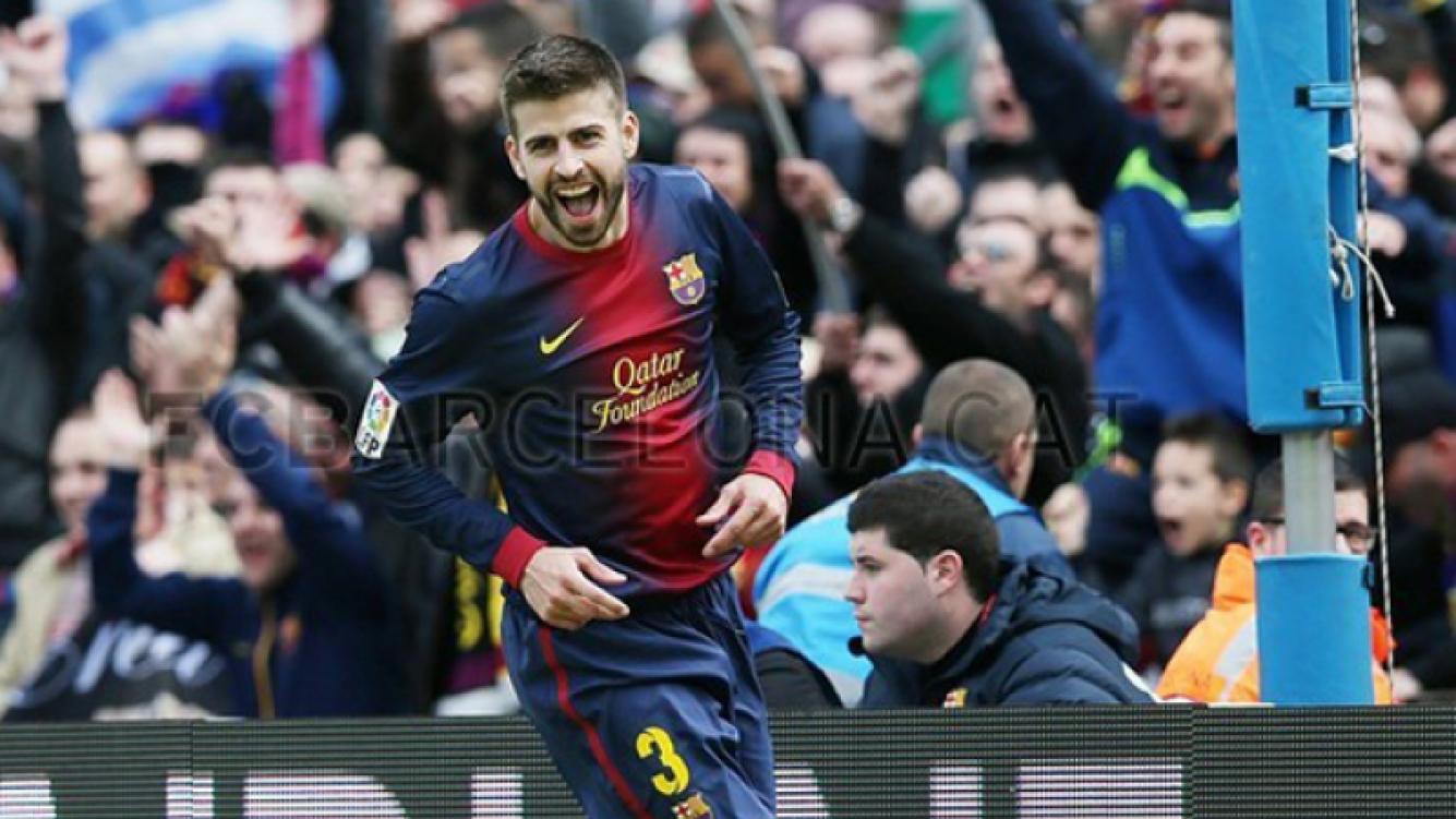 El festejo de Gerard Piqué (Foto: Web del Barcelona)