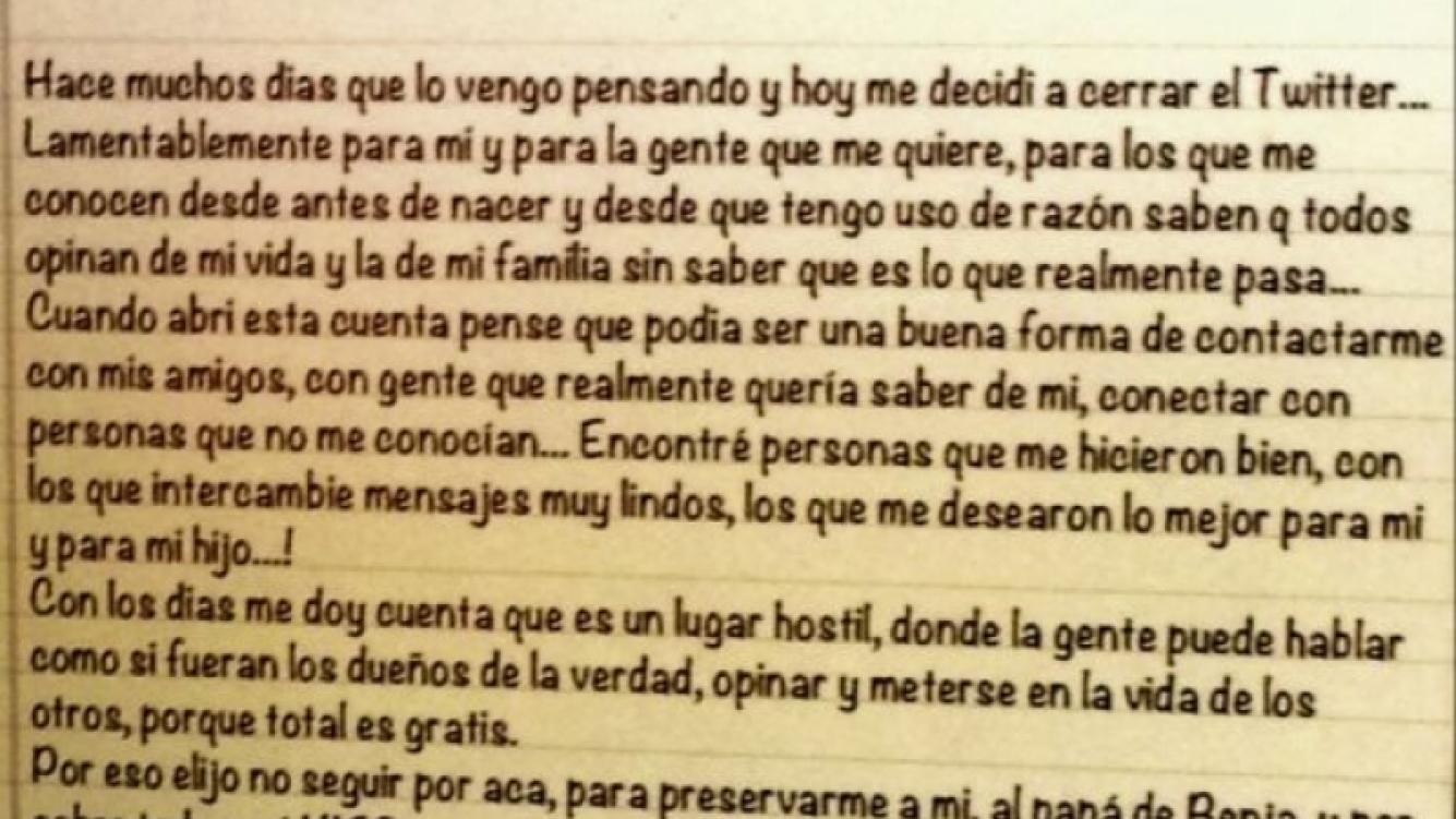 La carta con la que Gianinna decidió despedirse de Twitter (Foto: Captura de pantalla).