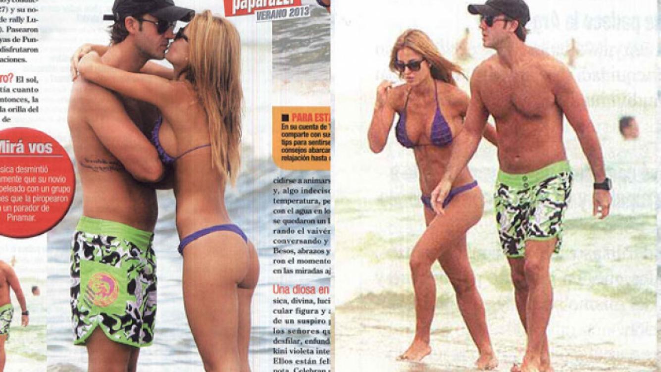 Jésica Cirio junto a su novio Luciano Bernardi en Punta del Este. (Fotos: revista Paparazzi)