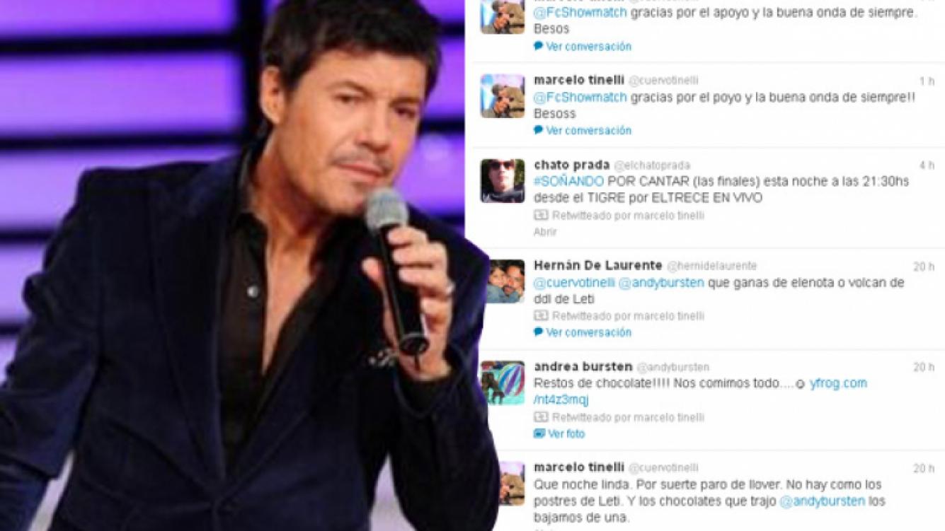 Los mensajes en Twitter de Tinelli después de que estallaran los rumores de pase a Telefe. (Foto: Web y @cuervotinelli)