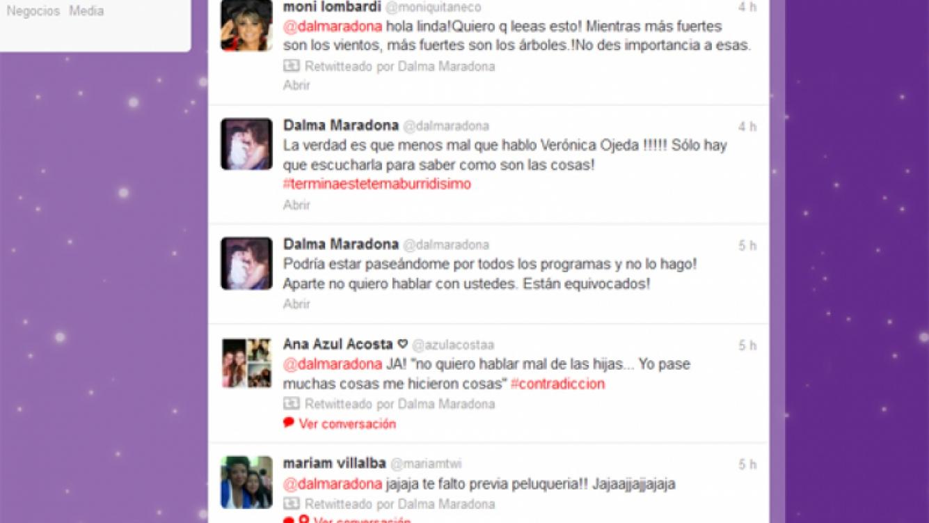 Los tweets de Dalma Maradona contra Verónica Ojeda.