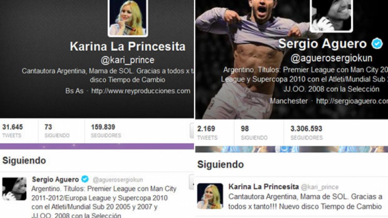 Karina y Sergio Agüero comenzaron a seguirse en Twitter.