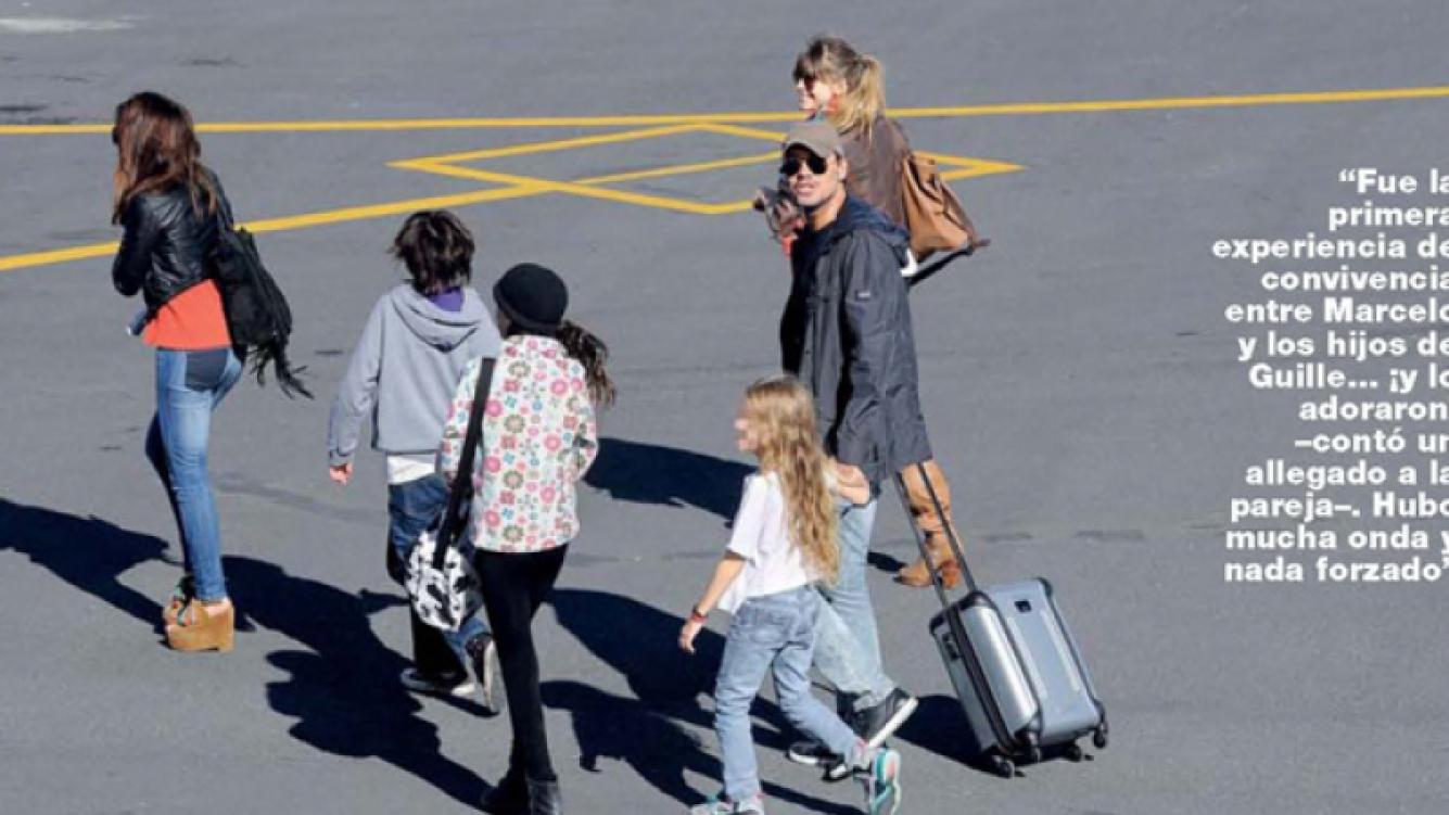 Marcelo Tinelli junto a Guillermina Valdés en Esquel, los hijos de ella, y Juanita, su hija menor (Foto: Gente