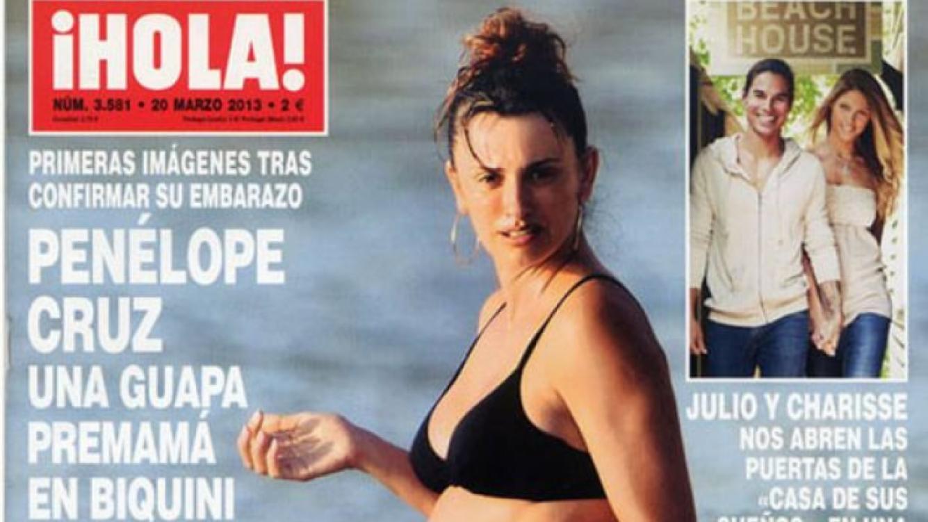 La primera imagen de Penélope Cruz embarazada. (Foto: tapa revista ¡Hola!)