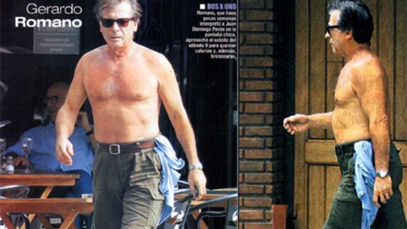 """Gerardo Romano, """"fitness"""" sin remera a los 66 años."""
