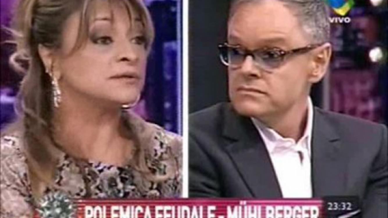 Marcela Feudale y el Dr. Rubén Mühlberger, durante la polémica en Intratables. (Captura: América TV)