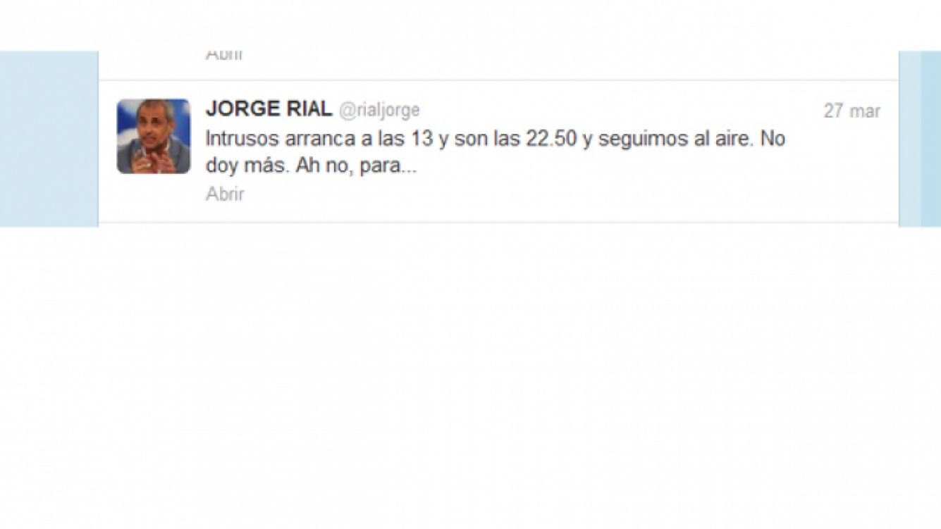 El tweet de Jorge Rial contra Intratables.