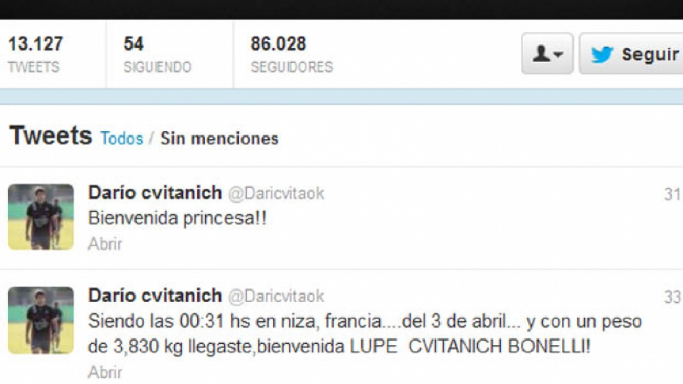Darío Cvitanich anunció el nacimiento de su hija en Twitter.